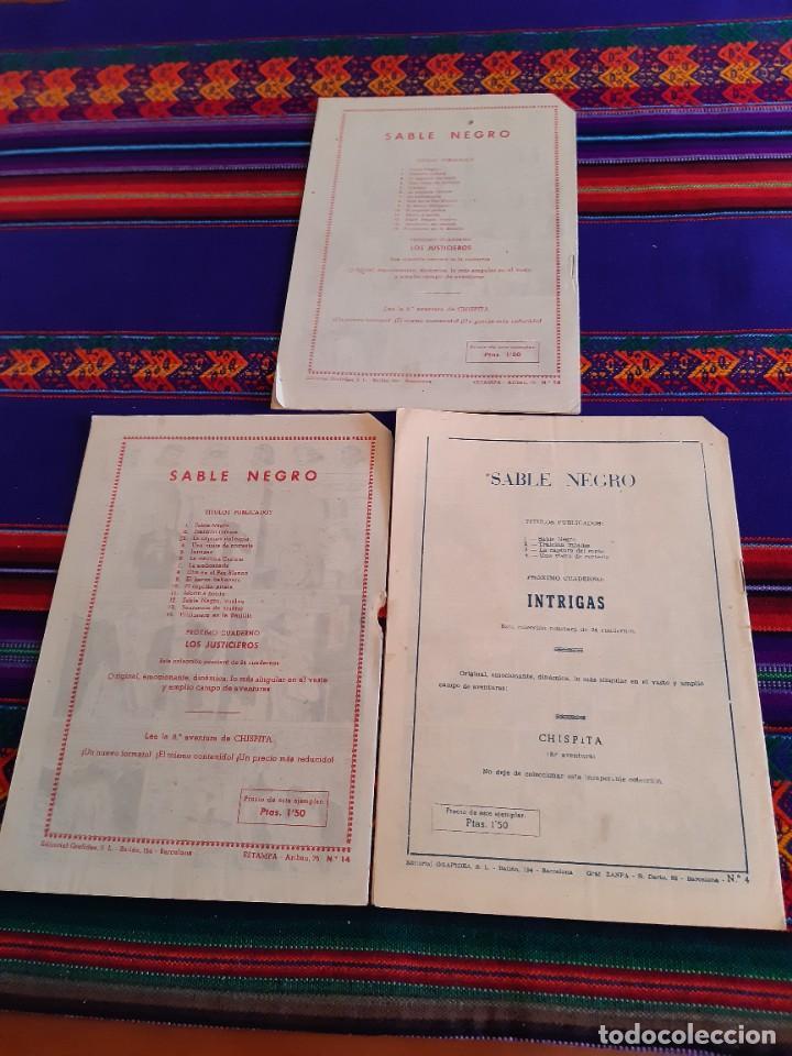 Tebeos: LOTE SABLE NEGRO NºS 4, 14 Y 14. GRAFIDEA 1957. ORIGINALES Y MUY, MUY DIFÍCILES. - Foto 2 - 128267528