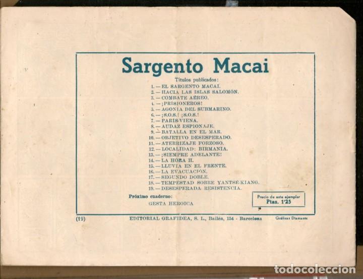 Tebeos: SARGENTO MACAI. Nº 19. DESESPERADA RESISTENCIA. GRAFIDEA ¡¡ORIGINAL!!.(C/A28) - Foto 2 - 257616120