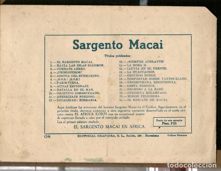 Tebeos: SARGENTO MACAI. Nº 24. EL RESCATE DE MACAI. GRAFIDEA ¡¡ORIGINAL!!.(C/A28) - Foto 2 - 257616560