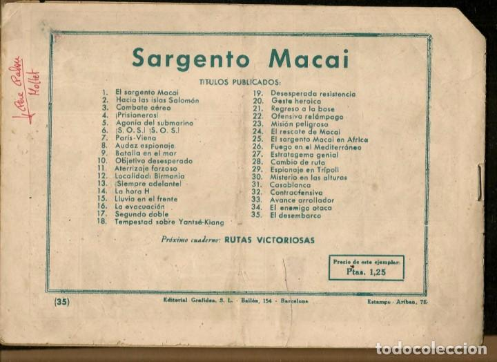 Tebeos: SARGENTO MACAI. Nº 35. EL DESEMBARCO. GRAFIDEA ¡¡ORIGINAL!!.(C/A28) - Foto 2 - 257617160