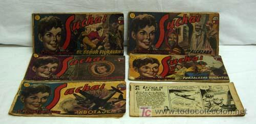 SUCHAI LOTE 6 TEBEOS Nº 51 - 52 - 53 - 65 - 67 Y OTRO SIN Nº Y SIN TAPA ED HISPANO AMERICANA 1949 (Tebeos y Comics - Hispano Americana - Suchai)