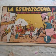 Tebeos: CARLOS EL INTREPIDO LA ESTRATAGEMA PROCEDE DE ENCUADERNACION,CON CROMOS DE FUTBOL. Lote 18395007