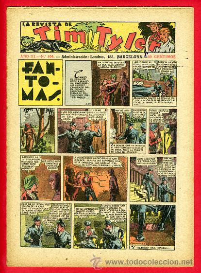 TIM TYLER , HISPANO AMERICANA 20 CTS. , ORIGINAL ANTIGUO , Nº 104 (Tebeos y Comics - Hispano Americana - Tim Tyler)