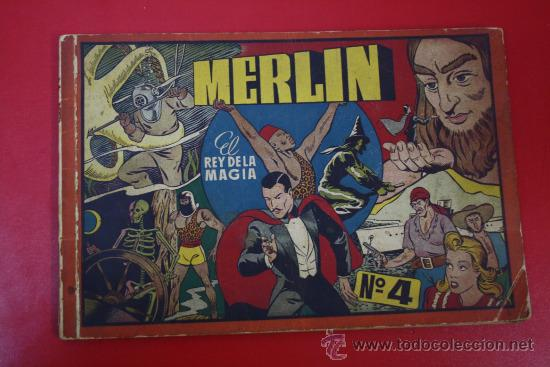 ANTIGUO TEBEO: MERLIN, EL REY DE LA MAGIA, Nº 4 - ED. HISPANO AMERICANA (Tebeos y Comics - Hispano Americana - Merlín)