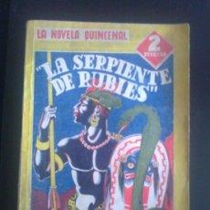 Tebeos: NOVELA QUINCENAL HISPANO AMERICANA. 1941. LA SERPIENTE DE RUBIES.. Lote 37099758