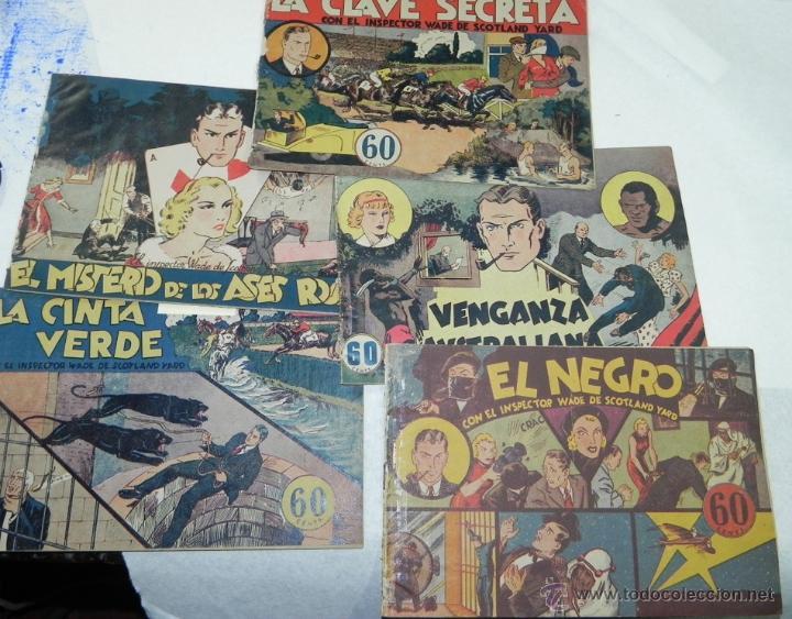 COLECCION DEL INSPECTOR WADE - EL NEGRO N.1, LA CINTA VERDE, LA CLAVE SECRETA, MISTERIO DE LOS ASES (Tebeos y Comics - Hispano Americana - Otros)