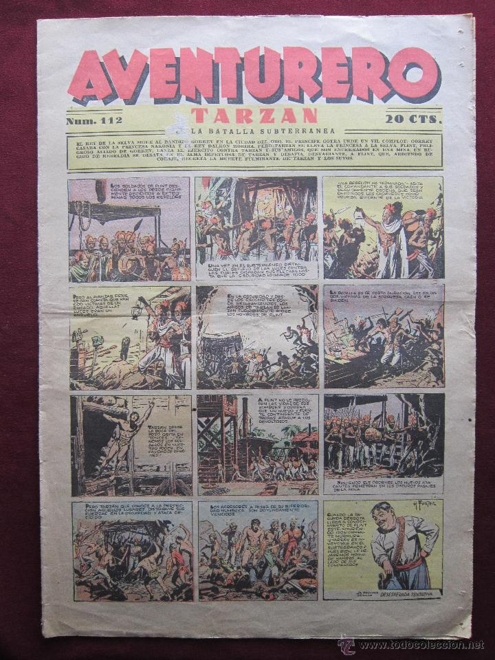AVENTURERO Nº 112. AGOSTO DE 1937. HISPANOAMERICANA. TARZAN DE HAL FOSTER, FLASH GORDON, MERLIN, ETC (Tebeos y Comics - Hispano Americana - Aventurero)