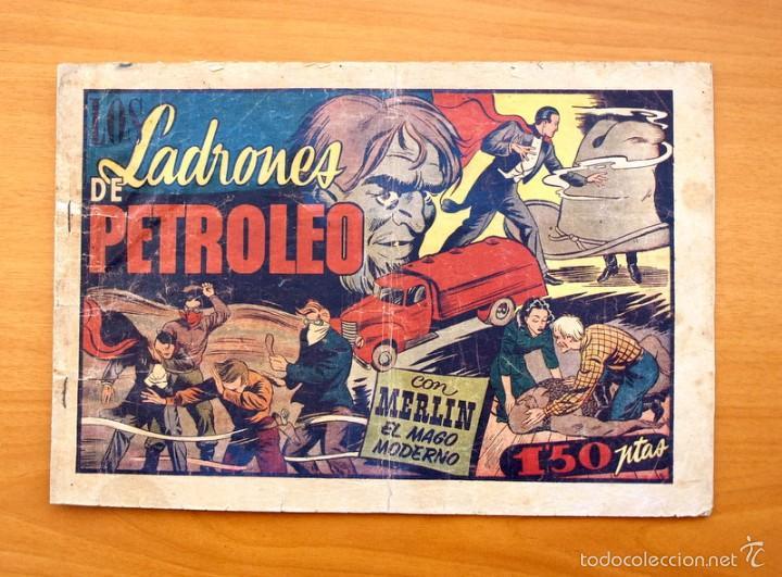 MERLÍN EL MAGO - Nº 25, LOS LADRONES DE PETROLEO - EDITORIAL HISPANO AMERICANA 1942 (Tebeos y Comics - Hispano Americana - Merlín)