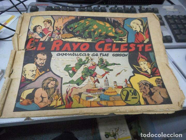 PRIMER NUMERO FLASH GORDON EL RAYO CELESTE CROMO FUTBOL CONTRAPORTADA (Tebeos y Comics - Hispano Americana - Flash Gordon)