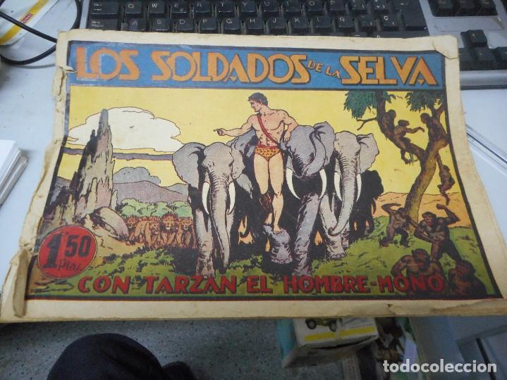 TARZAN LOS SOLDADOS DE LA SELVA CON CROMO FUTBOL EN CONTRAPORTADA (Tebeos y Comics - Hispano Americana - Tarzán)