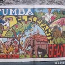 Tebeos: TUMBA EL ELEFANTE GIGANTE - EDI HISPANO AMAERICANA 16PAG 32X21CM, HACIA 1940/45, CROMOS + INFO. Lote 64501115