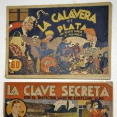 Tebeos: N.1 LA CALAVERA SECRETA 1941 RICARDO BARRIO PELIRROJO / N.3 LA CLAVE SECRETA 1941 INSPECTOR WADE. Lote 81258160