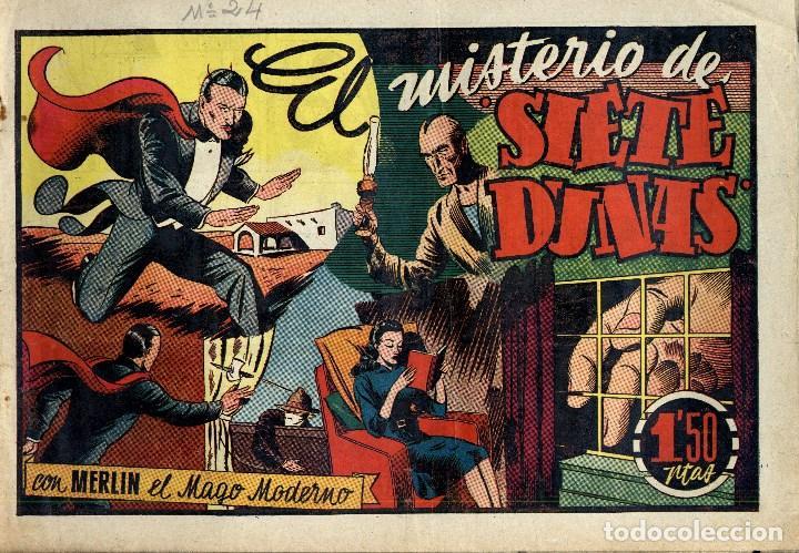 Tebeos: MERLIN HISPANO AMERICANO EDICIONES AÑO 1942 ORIGINALES COMPLETA 45 NºS ARCON PASILLO - Foto 8 - 84603668