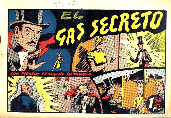 Tebeos: MERLIN HISPANO AMERICANO EDICIONES AÑO 1942 ORIGINALES COMPLETA 45 NºS ARCON PASILLO - Foto 10 - 84603668