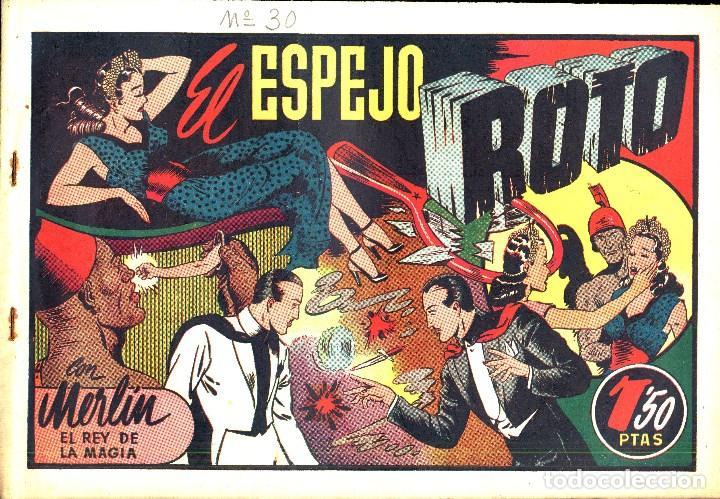 Tebeos: MERLIN HISPANO AMERICANO EDICIONES AÑO 1942 ORIGINALES COMPLETA 45 NºS ARCON PASILLO - Foto 11 - 84603668