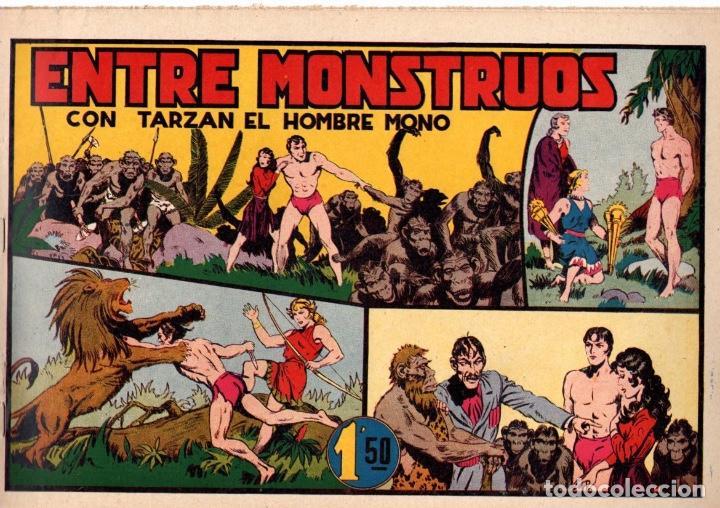 ENTRE MONSTRUOS CON TARZAN EL HOMBRE MONO. 1,50 PTAS. ORIGINAL. AÑOS 40 (Tebeos y Comics - Hispano Americana - Tarzán)