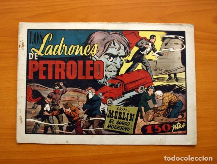 MERLIN EL MAGO - Nº 25, LOS LADRONES DE PETROLEO - EDITORIAL HISPANO AMERICANA 1942 - TAMAÑO 21X32 (Tebeos y Comics - Hispano Americana - Merlín)
