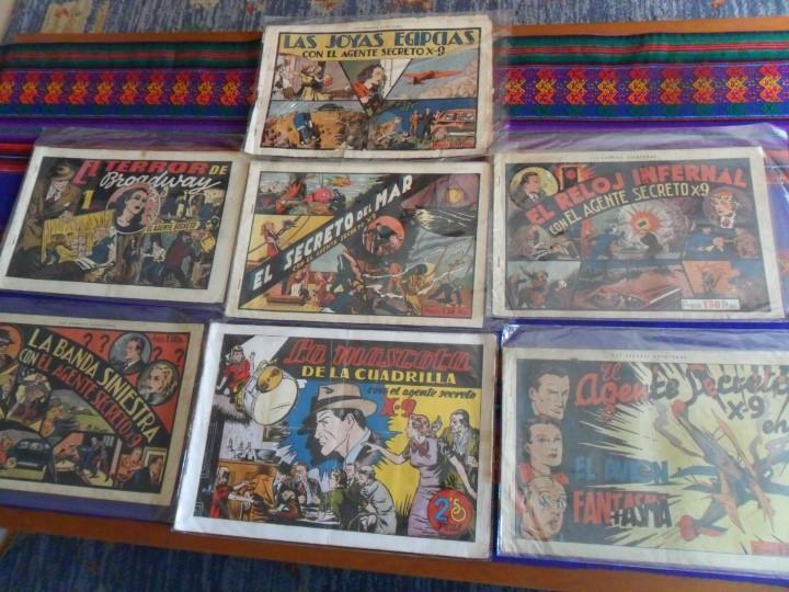 AGENTE SECRETO X9 NºS 1 2 3 4 6 8 Y EL EXTRA. HISPANO AMERICANA 1941. 1,50 PTS. 32X21 CMS. MUY RAROS (Tebeos y Comics - Hispano Americana - Otros)