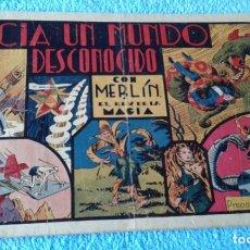 Tebeos: MERLIN Nº 3 ORIGINAL HISPANOAMERICANA HACIA UN MUNDO DESCONOCIDO CROMOS FUTBOL GRANADA Y CASTELLON. Lote 181576567