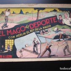 Tebeos: MERLIN (1942, HISPANO AMERICANA) -EL MAGO MODERNO- 8 · 1942 · EL MAGO DEL DEPORTE. Lote 188488641