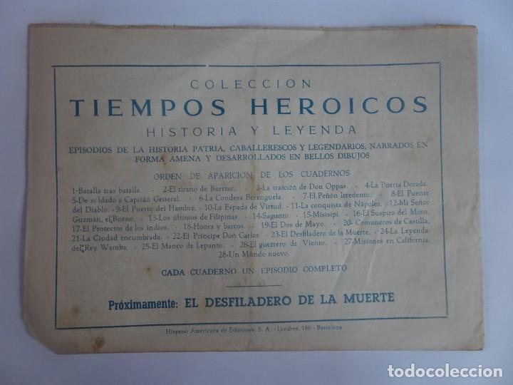 Tebeos: ANTIGUO COMIC TIEMPOS HEROICOS 22, EL PRÍNCIPE DON CARLOS, HISPANO AMERICANA ,VER FOTOS - Foto 5 - 197072951