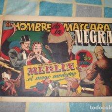 Tebeos: MERLIN, EL MAGO MODERNO 19: EL HOMBRE DE LA MÁSCARA NEGRA, 1942, HISPANO AMERICANA, BUEN ESTADO. Lote 197917887