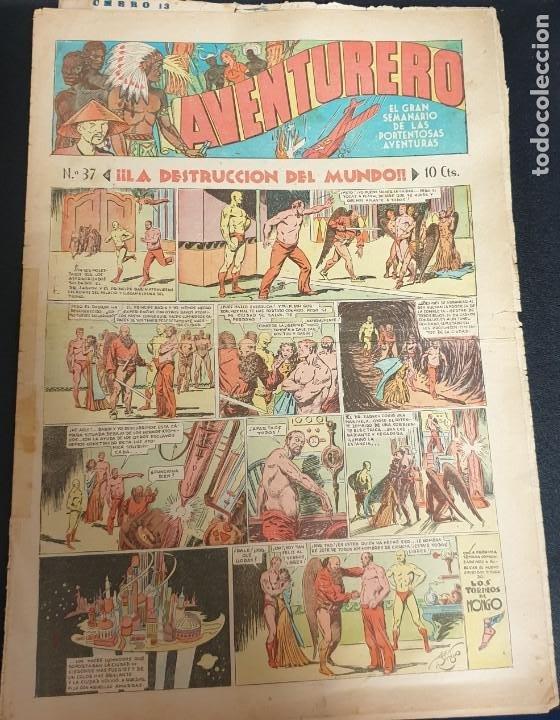 AVENTURERO ¡LA DESTRUCCIÓN DEL MUNDO! Nº 37 21 ENERO 1936 (Tebeos y Comics - Hispano Americana - Aventurero)