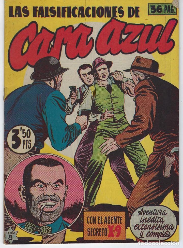 LAS FALSIFICACIONES DE CARA AZUL CON EL AGENTE SECRETO X-9 - EXTRA 8 - 1944 ** HISPANO AMERICANA ** (Tebeos y Comics - Hispano Americana - Otros)