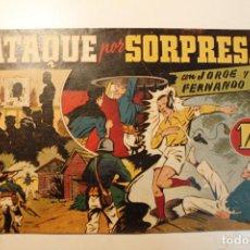 """Tebeos: JORGE Y FERNANDO, EDIT. HISPANO AMERICANA, ORIGINAL 1940, NÚMERO. """" ATAQUE POR SORPRESA """". Lote 237344895"""