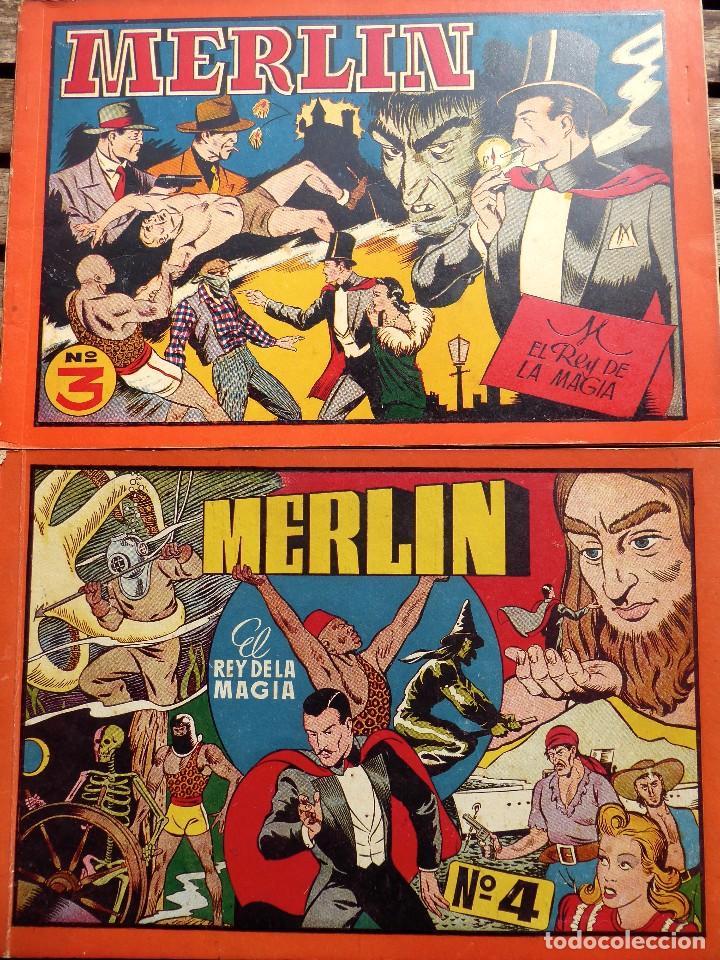 COMIC-14. MERLÍN . ALBUM ROJO. NÚMEROS 3 Y 4. HISPAMO AMERICANA. ORIGINALES. AÑOS 40. (Tebeos y Comics - Hispano Americana - Merlín)
