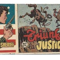 Tebeos: EL PEQUEÑO SHERIFF 212, 1952, HISPANO AMERICANA, ORIGINAL, MUY BUEN ESTADO. Lote 295434378