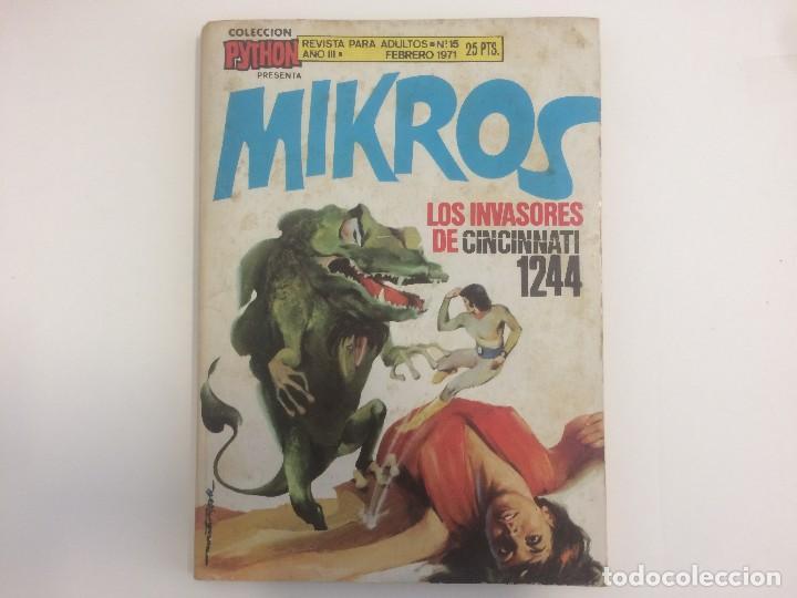 COLECCION PYTHON - MIKROS - LOS INVASORES DE CINCINNATI 1244 - Nº 15 (Tebeos y Comics - Ibero Mundial)