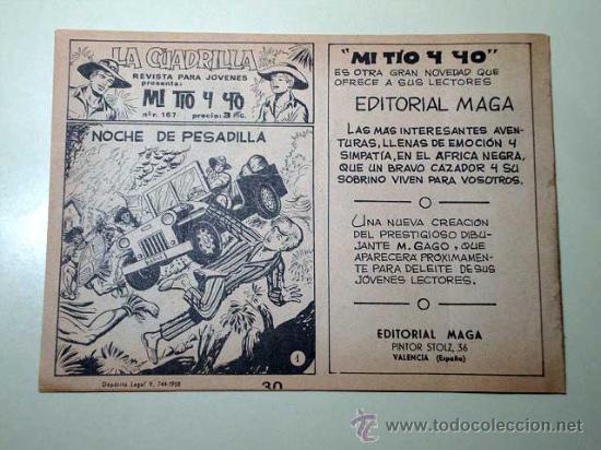 Tebeos: PANTERA NEGRA Nº 30. GUARIDA DE LOBOS. PEDRO QUESADA Y JOSÉ ORTIZ. EDITORIAL MAGA 1964 DE 2 PTS. ++ - Foto 3 - 29468631
