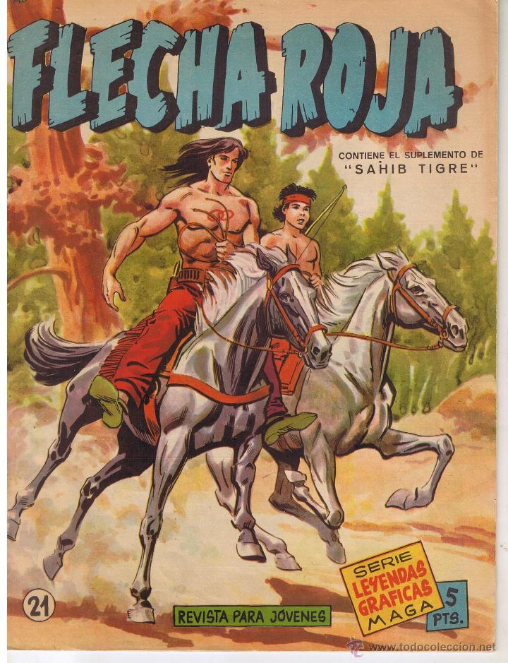 FLECHA ROJA. Nº 21. CONTIENE EL SUPLEMENTO DE SAHIB TIGRE. SERIE LEYENDAS GRAFICA MAGA(C/A3) (Tebeos y Comics - Maga - Flecha Roja)