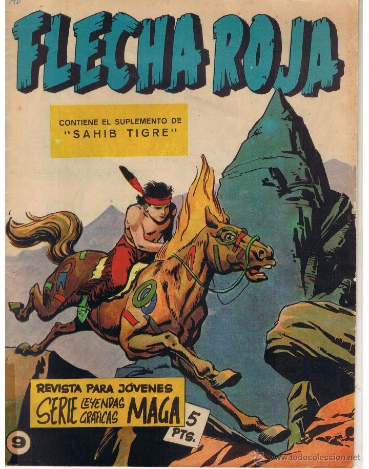 FLECHA ROJA. Nº 9. CONTIENE EL SUPLEMENTO DE SAHIB TIGRE. MAGA(C/A3) (Tebeos y Comics - Maga - Flecha Roja)