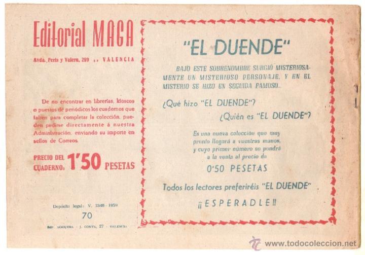 Tebeos: DON Z Nº 70 ORIGINAL - EDI. MAGA 1959 - DIBUJO SERCHIO - - Foto 2 - 48290251
