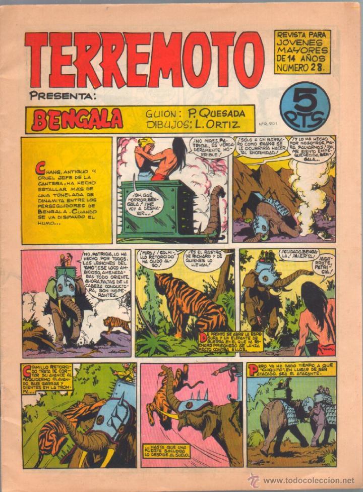 TERREMOTO ORIGINAL EDITORIAL MAGA Nº 28 - 1964 - ÚLTIMO DE BENGALA Y PRIMERO DE ROQUE BRIO (Tebeos y Comics - Maga - Otros)