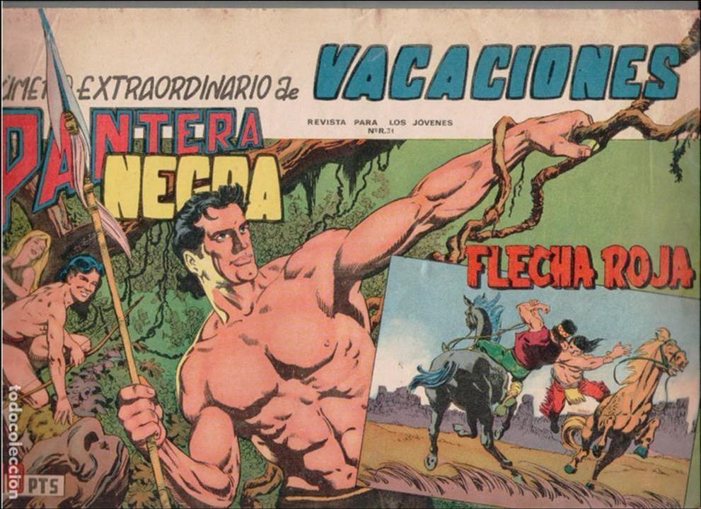 EXTRAORDINARIO DE VACACIONES DE PANTERA NEGRA Y FLECHA ROJA 1965 -ORIGINAL- (Tebeos y Comics - Maga - Flecha Roja)