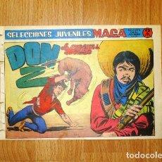 Tebeos: DON Z. Nº 6 : LA AUDACIA DE DON DIEGO (SELECCIONES JUVENILES MAGA). - VALENCIA : MAGA, [D.L.. 1965]. Lote 122658975