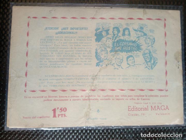 Tebeos: APACHE Nº 6 - ORIGINAL- EDT. MAGA 1958 ( M-5) - Foto 2 - 131855874