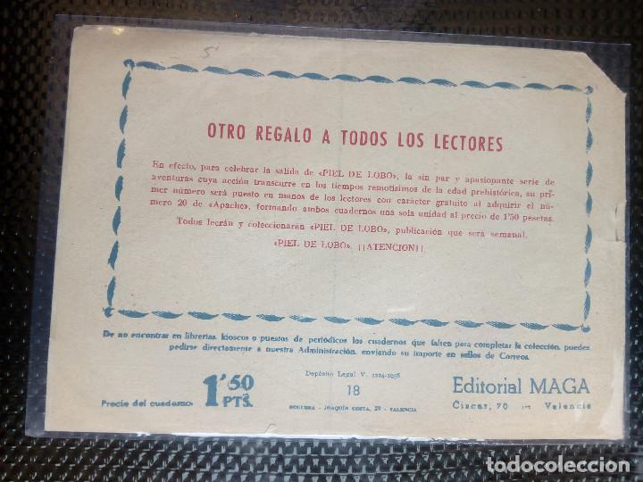 Tebeos: APACHE Nº 18 - ORIGINAL- EDT. MAGA 1958 ( M-5) - Foto 2 - 131859062