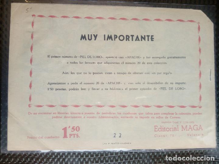 Tebeos: APACHE Nº 22 - ORIGINAL- EDT. MAGA 1958 ( M-5) - Foto 2 - 131859346