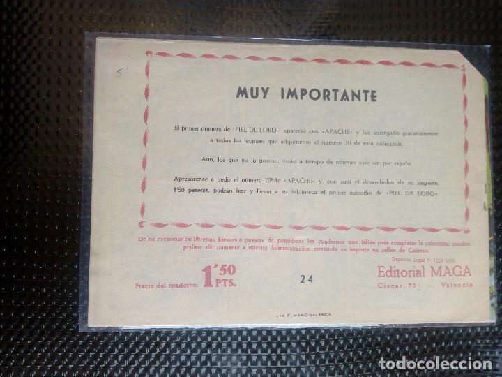 Tebeos: APACHE Nº 24- ORIGINAL- EDT. MAGA 1958 ( M-5) - Foto 2 - 131859898