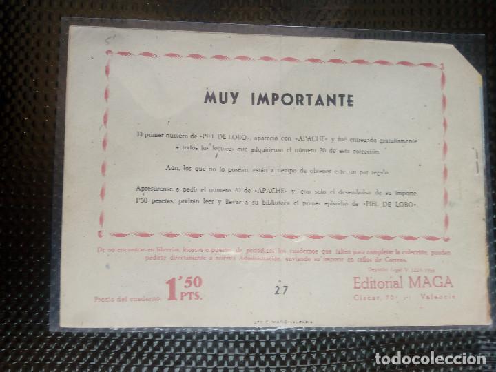 Tebeos: APACHE Nº 27- ORIGINAL- EDT. MAGA 1958 ( M-5) - Foto 2 - 131900990
