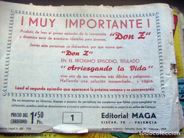 Tebeos: DON Z. EDITORIAL MAGA 1959. COLECCION 89 EJEMPLARES solo falta el último nª 90 - Foto 6 - 134935502