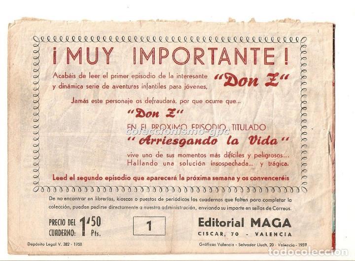 Tebeos: DON Z nº 1 !! TEBEO ORIGINAL 1959 CUANDO CALIFORNIA ERA ESTADO DE MEJICO 1820 Editorial MAGA Oferta - Foto 2 - 163745538
