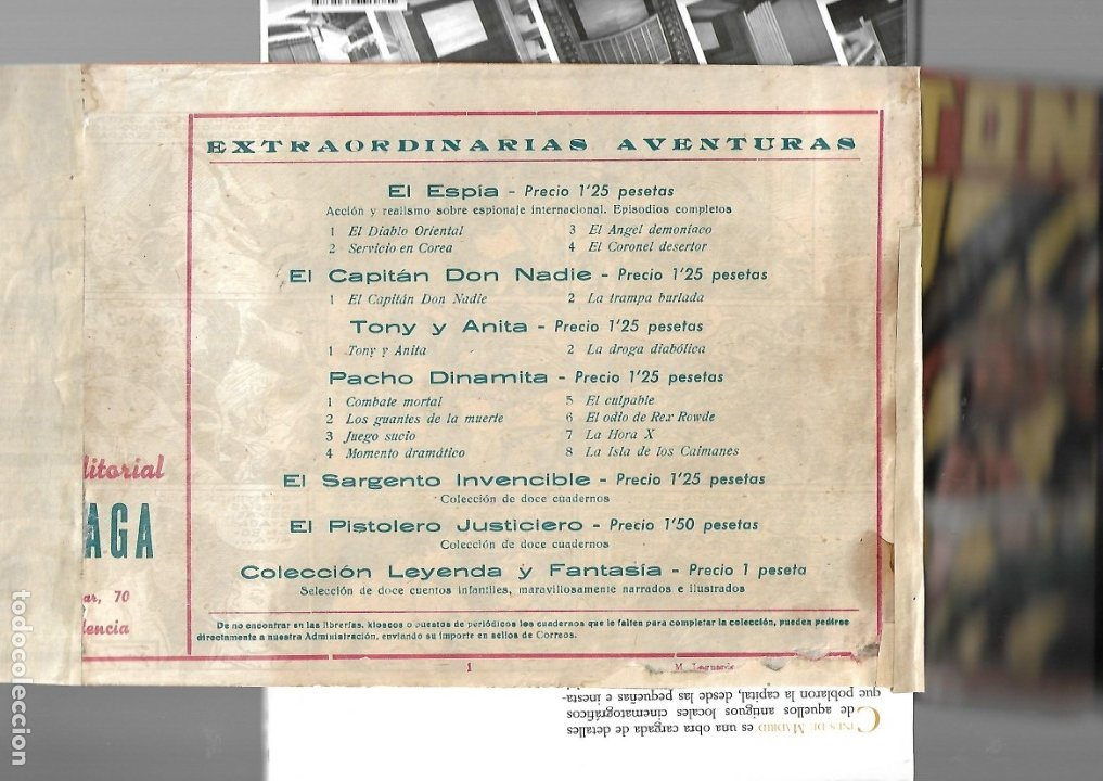 Tebeos: Tony y Anita, Nº 1 es Original del Año 1951. Dibujante M. Quesada Editorial Maga. - Foto 2 - 173042572