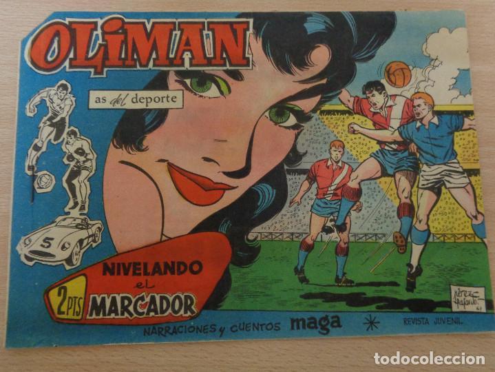OLIMAN NÚM. 28. NIVELANDO EL MARCADOR. ORIGINAL. EDITA MAGA. RCD ESPAÑOL EN CONTRAPORTADA. (Tebeos y Comics - Maga - Oliman)