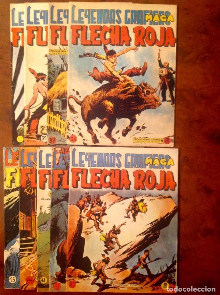 FLECHA ROJA LEYENDAS GRÁFICAS -ED.MAGA-9 NÚMEROS-36-37-39-40-41-42-43-44-45- (Tebeos y Comics - Maga - Flecha Roja)