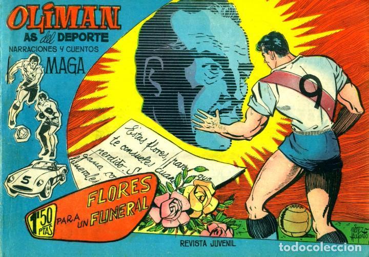 Tebeos: OLIMAN (MAGA, 1961) COLECCIÓN COMPLETA: 105 EJEMPLARES MÁS EL ÁLBUM DE LA SELECCIÓN ESPAÑOLA - Foto 4 - 192234647